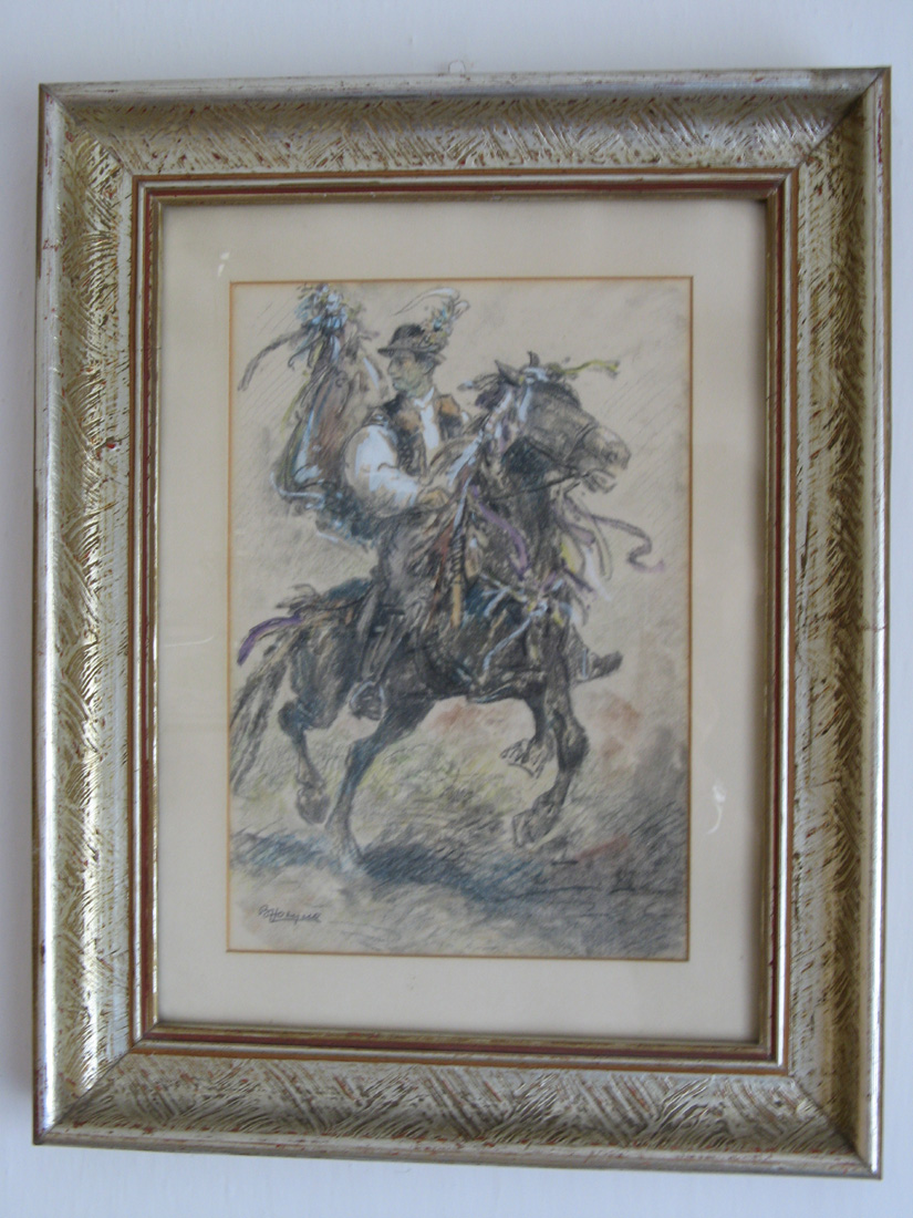 Horyna - Horse rider, signed painting